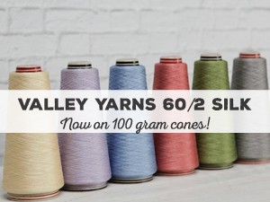 Valley Yarns 60/2 Silk, now 100g cones