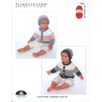 P553 3-Color Baby Cardigan & Hat Set
