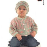 Plymouth Yarn S507 2-color Baby Cardigan and Hat Set