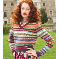V-Neck Fair Isle Sweater PDF