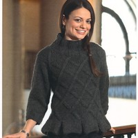2115 Woman's Lattice Pullover with Peplum