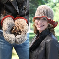 424 Favia Crocheted Hat and Mittens