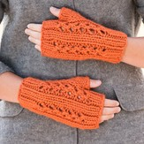 Vermont Fiber Designs Double Lace Rib Fingerless Mitts PDF