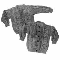 19 Child's Aran Sweater Pullover or Cardigan